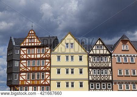 Hessenpark, Open-air Museum, Hesse, Germany. Ancient Colorful Historical Half-timbered Buildings On