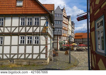 08.08.2019. Hessenpark, Open-air Museum, Hesse, Germany. Ancient Colorful Historical Half-timbered B