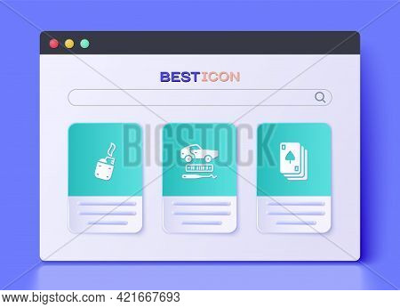 Set Car Theft, Lighter And Playing Cards Icon. Vector