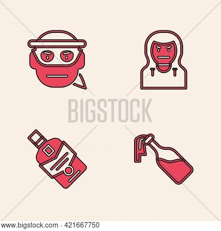 Set Cocktail Molotov, Bandit, Thief Mask And Whiskey Bottle Icon. Vector