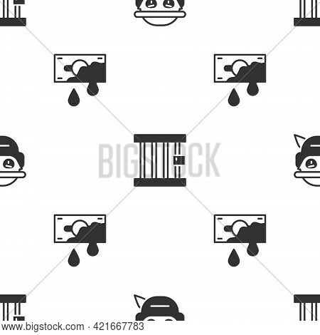 Set Bandit, Prison Window And Bloody Money On Seamless Pattern. Vector