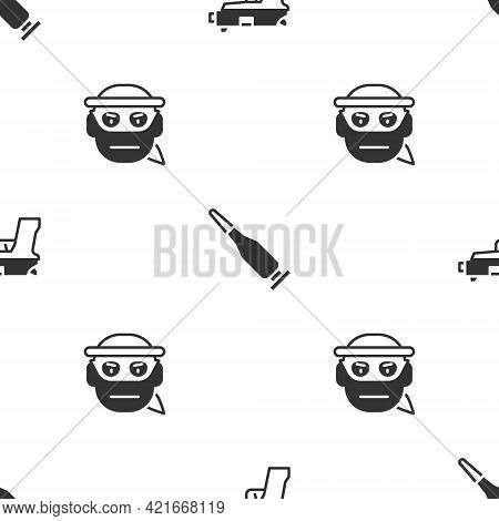 Set Pistol Or Gun, Bullet And Bandit On Seamless Pattern. Vector