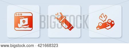 Set Police Electric Shocker, Internet Piracy And Burning Car. White Square Button. Vector