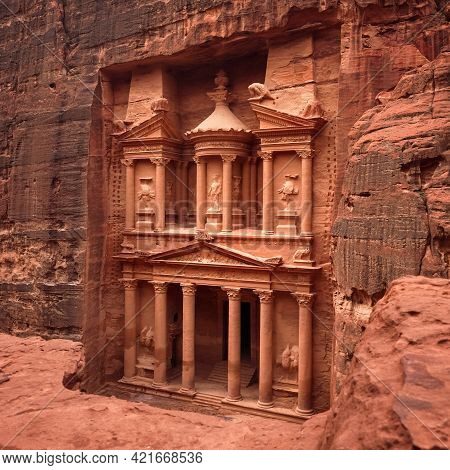 Front Of Al-khazneh Treasury Temple Carved In Stone Wall - Main Attraction In Lost City Of Petra