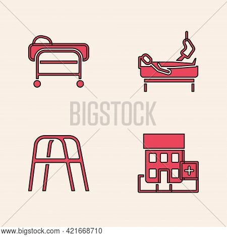 Set Medical Hospital Building, Stretcher, Patient With Broken Leg And Walker Icon. Vector