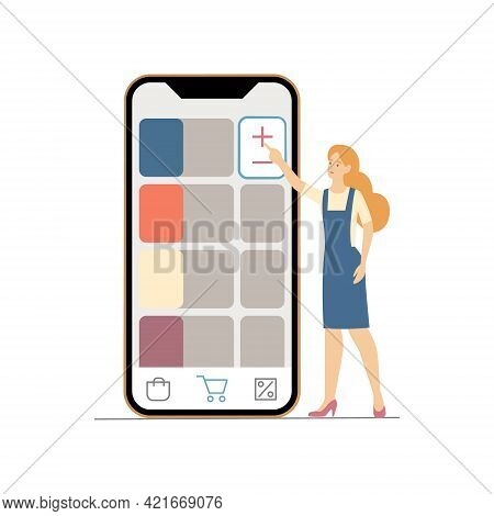 Female Customers Tap Add To Order Button In Website Or Mobile Application. Digital Ecommerce Purchai