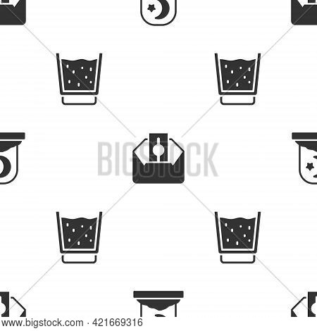 Set Muslim Cemetery, Donate Or Pay Your Zakat And Glass With Water On Seamless Pattern. Vector