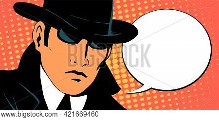 Man Detective Investigating. Dressed In A Retro Raincoat And Hat. Wearing Black Glasses. Place For T