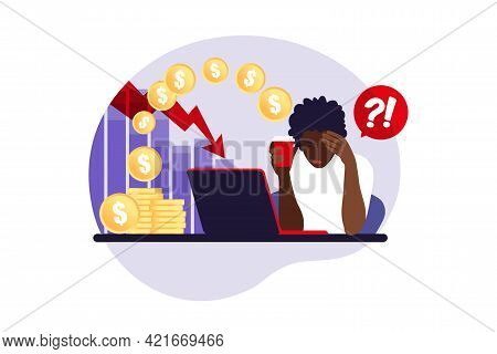 Depressed Sad African Woman Thinking Over Problems. Bankruptcy, Loss, Crisis, Trouble Concept. Vecto