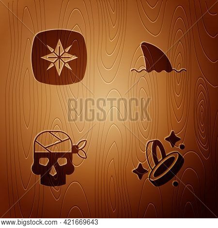 Set Pirate Coin, Wind Rose, Captain And Shark Fin Ocean Wave On Wooden Background. Vector