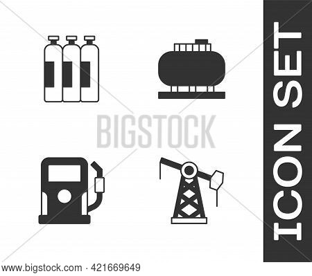 Set Oil Pump Or Pump Jack, Industrial Gas Cylinder Tank, Petrol Station And Storage Icon. Vector