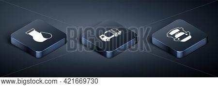 Set Isometric Oil Petrol Test Tube, Tanker Ship And Tanker Truck Icon. Vector