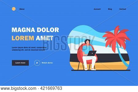 Man Using Laptop On Tropical Beach. Freelancers Workplace With Armchair Outdoors Flat Vector Illustr