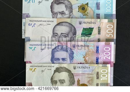 Ukrainian Money Is One Thousand, Five Hundred And Two Hundred Hryvnias. National Currency. Corruptio