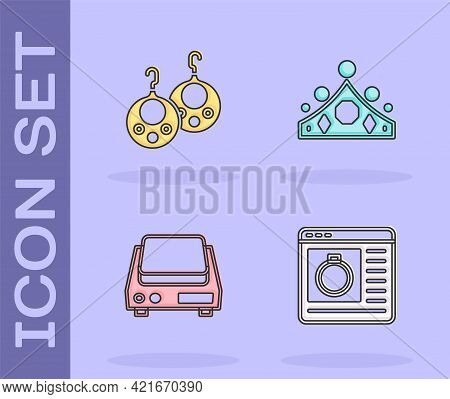 Set Jewelry Online Shopping, Earrings, Electronic Jewelry Scales And King Crown Icon. Vector
