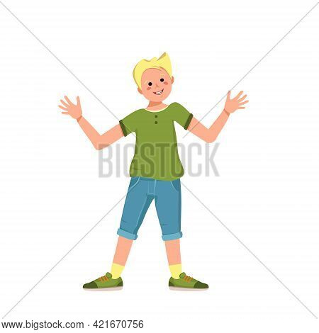 A Boy With Blond Hair And Face In A Shirt, Denim Shorts And Sneakers Smile. Happy Child Hugs With Hi