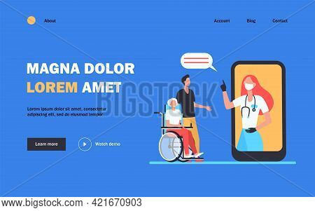 Doctor In Mask Consulting Patients Via Smartphone. Pandemic, Isolation, Phone Flat Vector Illustrati