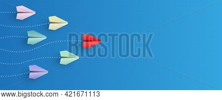 Individual Red Leader Paper Plane Lead Other. Business And Leadership Concept
