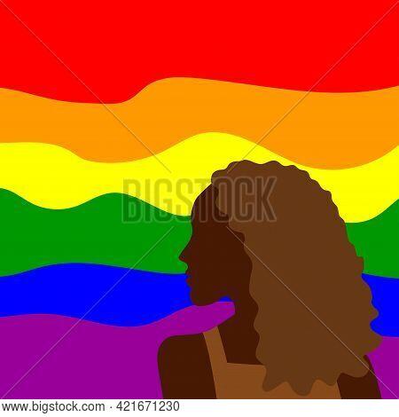 Lgbt Pride Month. Lesbian Gay Bisexual Transgender. Black Woman On Lgbt Flag Background. Human Right