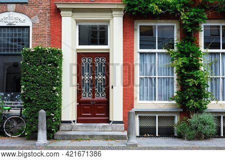 Door and window of an old house in Utrecht, Netherlands