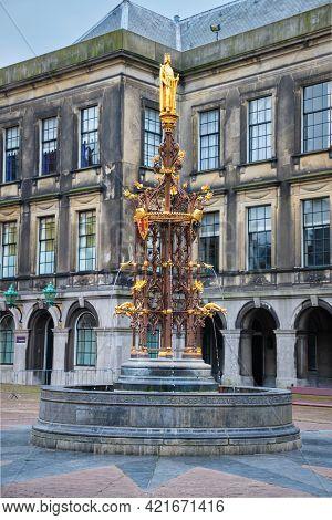 Neo-Gothic fountain fountain in the Binnenhof complex. The Hague, Nethernalnds