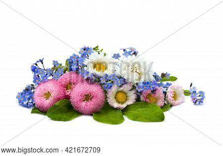 Bouquet With Marguerite And Forget-me-not On White Background With Space For Text