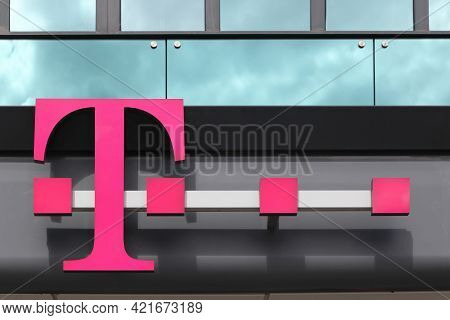 Berlin, Germany - July 12, 2020: Deutsche Telekom Logo On A Building. Deutsche Telekom Is A German T