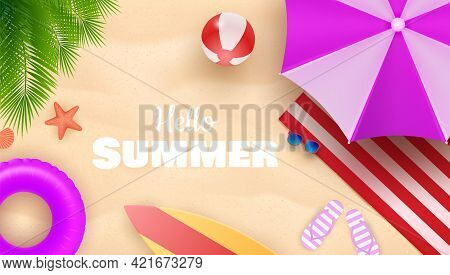 Hello Summer Background With Colorful Umbrella, Beach Ball, And Lifebuoy In The Sand Sea Shore For S