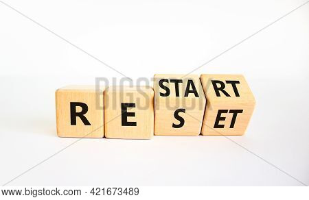 Reset And Restart Symbol. Turned Cubes And Changed The Word 'reset' To 'restart'. Beautiful White Ba