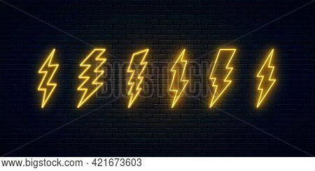 Neon Lightning Bolt Set. Six Electric Discharge Neon Symbols. Thunder And Electricity Sign. High-vol