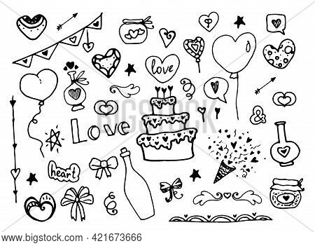 Vector Set For Wedding. Hand-drawn Elements For Romance And Love In The Doodle Style Of Cake, Champa