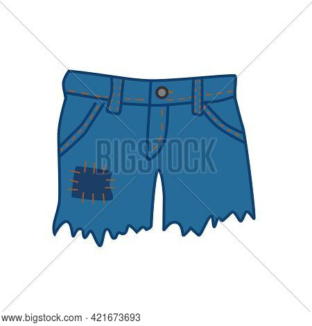 Women\'s Light Denim Shorts. Front View On A White Background. Vector Illustration.