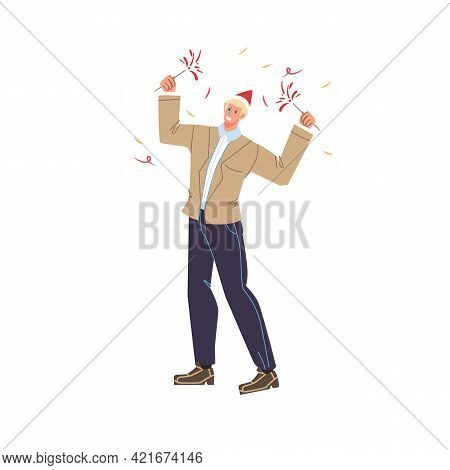 Vector Cartoon Flat Character Rejoice At Merry Christmas New Year Celebration - Holiday Celebrating,