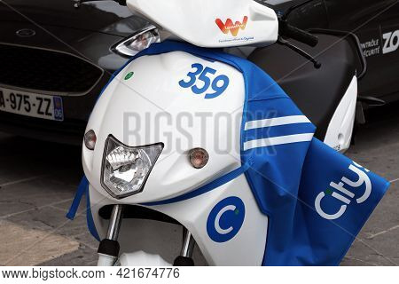 Nice, France - May 21, 2019: Close Up Of Cityscoot Electric Scooter Parked On The Sidewalk In Nice,