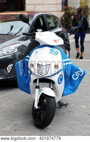 Nice, France - May 21, 2019: Cityscoot Electric Scooter Parked On The Sidewalk In Nice, France. City