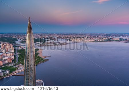 Russia, St.petersburg, 16 May 2021: Drone Point Of View Of Highest Skyscraper In Europe Lakhta Cente