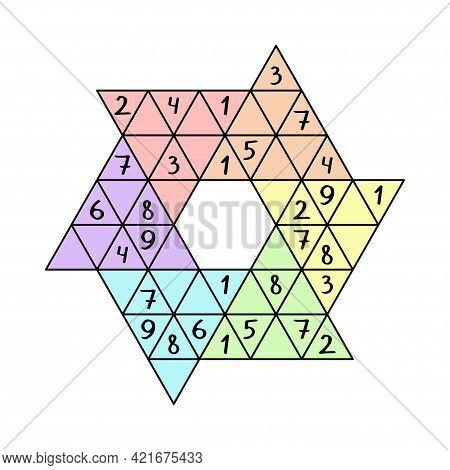 Star Sudoku Game For Children Colorful Printable Worksheet Vector Illustration. Unusual Triangular L