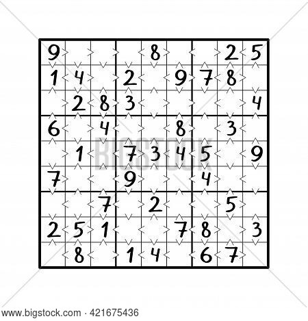 Greater Than Sudoku Game Black And White Stock Vector Illustration. Place All Numbers From 1 To 9 In