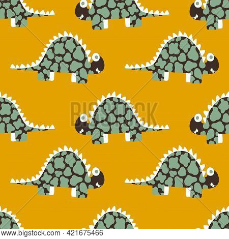 Happy Spotted Dinos Sunny Colors Childish Vector Seamless Pattern. Positive Stegosaurus Dinosaurs Pa