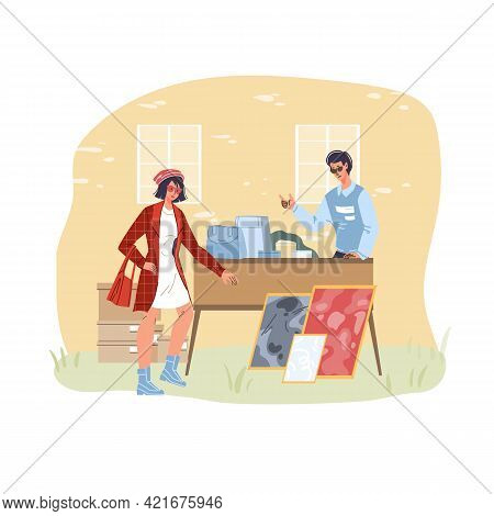 Set Of Vector Cartoon Flat Characters At Garage Sale Outdoor Shopping -social Communication, Emotion