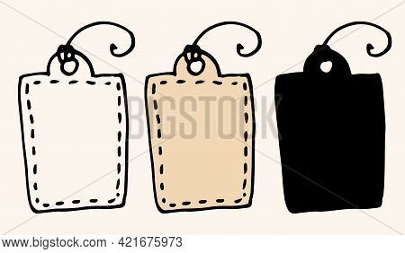 Vector Vintage Tag For Gift. Vector Insulated Vintage Tag For Gift. Hand-drawn In A Doodle Style, Bl