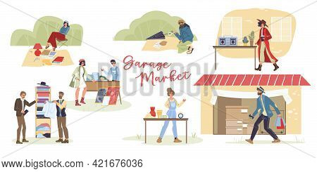 Set Of Vector Cartoon Flat Characters Outdoor Shopping-various Poses, Emotions And Goods, Garage Sal