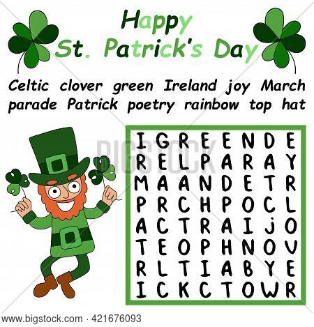 Happy St Patrick Day Word Search Puzzle For Kids Vector Illustration. Find Eleven Hidden English Wor