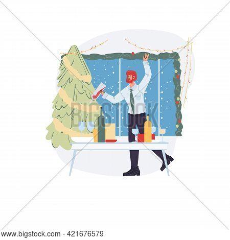 Vector Cartoon Flat Character Rejoice, Merry Christmas And Happy New Year Celebration With Xmas Tree