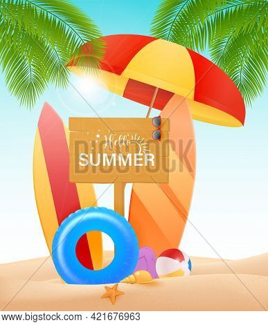 Hello Summer Vector Design Concept. Wooden Sign Board With Hello Summer Text And Beach Elements Like