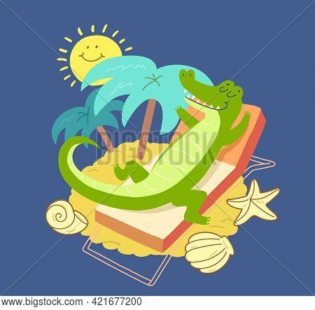 Crocodile Sunbathing On A Sunbed Near Palms. Smiling Cartoon Alligator And Sun On Summer Vacation At