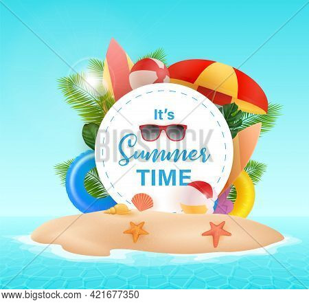 Hello Summer Typographic On Withe Circle Background. Tropical Plants, Beach Ball, Sunglasses And Sea