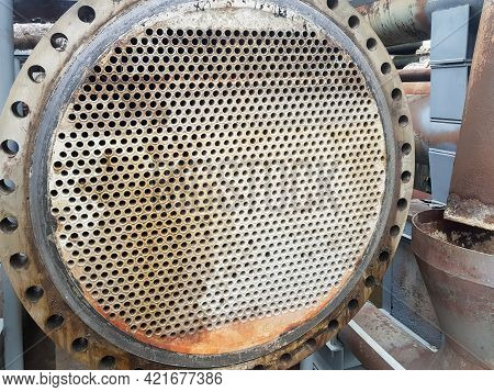 Shell-and-tube (shell-and-tube) Heat Exchanger For Heat Exchange Between Two Streams Close-up. Dirty