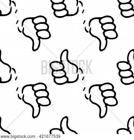 Vector Cartoon Hand With Finger Up. Vector Pattern Of A Cartoon Hand With A Raised Finger.seamless P
