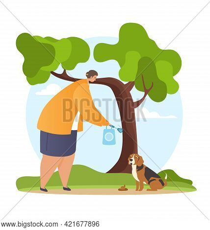 Woman Walking The Dog And Picking Up Pets Waste. Domestic Animals Care And Responsibility. Flat Cart